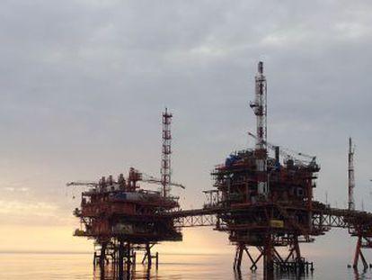 Una plataforma de ENI en el mar Adriático.