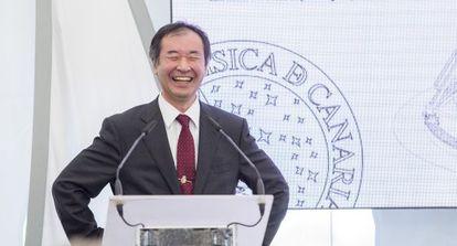Takaaki Kajita, Premio Nobel de Física de 2015, ayer en La Palma