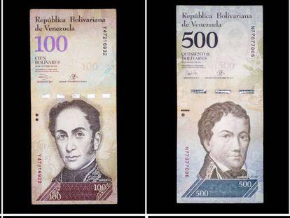 Detalhe de bilhetes do atual cone monetário de Venezuela.