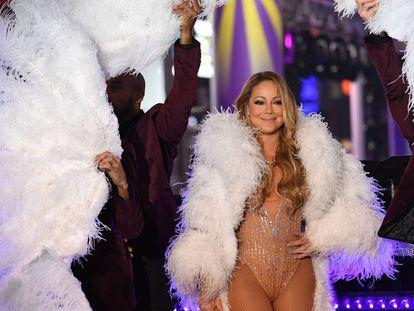 Mariah Carey durante su actuación en Times Square en la Nochevieja de 2016.