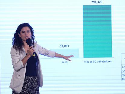 La secretaria de Trabajo, María Luisa Alcalde, explica la pérdida de trabajos reciente.