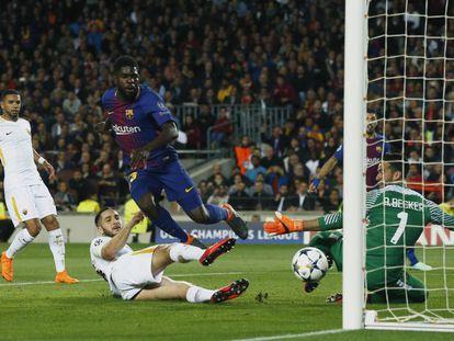 Manolas mete en propia el segundo del Barcelona tras un remate de Umtiti.