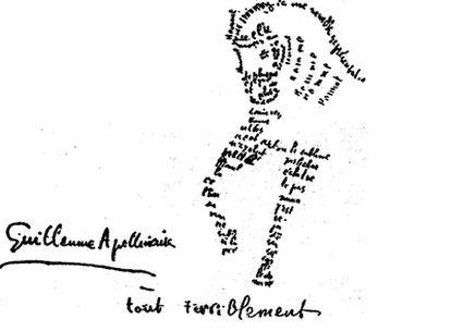 Caligrama escrito por Guillaume Apollinaire durante la I Guerra Mundial