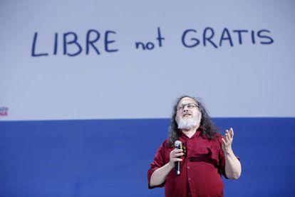 Richard Stallman, presidente de la Fundación para el software libre, hoy en RETINA.