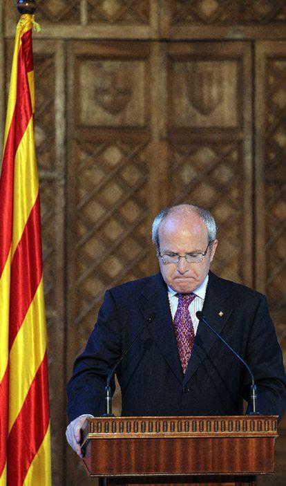 El presidente de la Generalitat, José Montilla, durante su comparecencia tras conocer el fallo del tribunal Constitucional sobre el Estatuto de Cataluña.