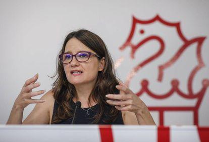 La vicepresidenta del Gobierno valenciano, Mónica Oltra, en la rueda de prensa posterior al pleno del Consell.