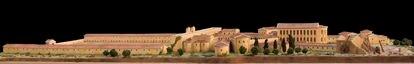 Reconstrucción digital de la vista del palacio de Maximiano desde las murallas de Córdoba en época romana.