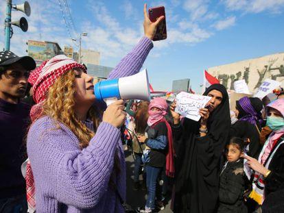 Manifestación de mujeres, este jueves en Bagdad.