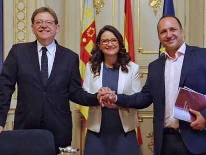 Ximo Puig, Mónica Oltra y Rubén Martínez Dalmau escenifican los primeros acuerdos para formar Gobierno en 2019.