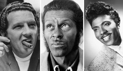 Jerry Lee Lewis, Chuck Berry y Little Richard, los tres músicos que construyeron el rock and roll, fotografiados al principio de sus carreras