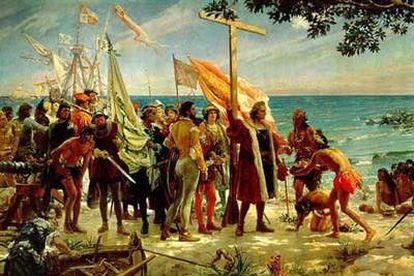 Escena pictórica idealizada del primer desembarco de Cristóbal Colón en lo que habría de ser América.