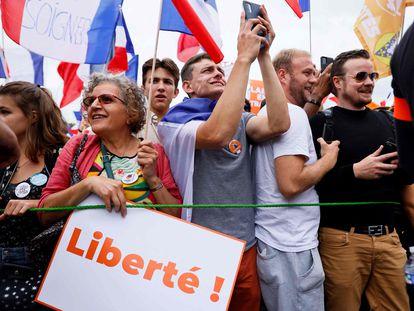 Manifestación en Francia contra la vacuna de la covid-19.