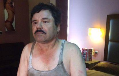 El Chapo Guzmán, tras su detención este viernes.