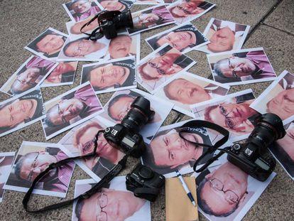 Fotos de periodistas asesinados en México.