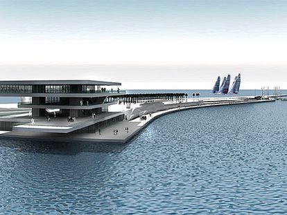 Diseño de David Chipperfield y Fermín Vázquez para el edificio de invitados, el parque y el aparcamiento de la Copa del América.