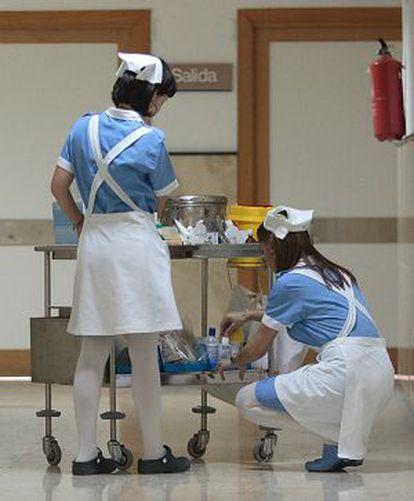 Enfermeras en la clínica San Rafael de la empresa Pascual.