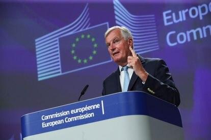 El negociador europeo, Michel Barnier, durante su rueda de prensa en Bruselas, este viernes.