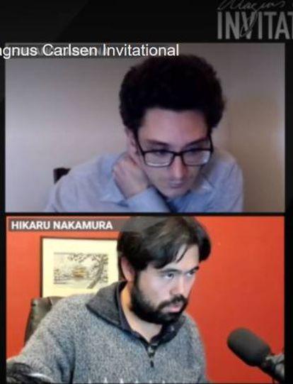 Un momento de la primera semifinal, Caruana (arriba)-Nakamura
