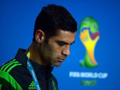 Rafael Márquez en el marco de una conferencia antes de la Copa Mundial de Fútbol 2014.