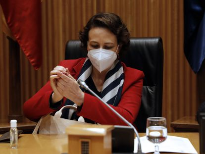 Magdalena Valerio, presidenta de la Comisión de Seguimiento y Evaluación de los Acuerdos del Pacto de Toledo, este martes en el Congreso.