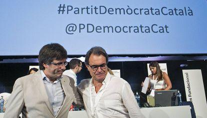 Puigdemont y Mas, tras la votación.