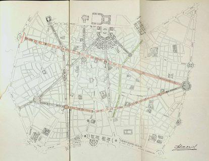 Plano del futuro Madrid, según la propuesta de José Luis de Oriol en 1921. En verde, la Gran Vía, aún en construcción en esa fecha. El arquitecto plantea una avenida rectilínea de más de 2,5 kilómetros que partiría de la actual glorieta de Bilbao y desembocaría en la Puerta de Toledo. También otra que uniría Bilbao con Lavapiés (rebautizada como 'Goya'), una nueva avenida que partiría de San Francisco el Grande hasta llegar al paseo del Prado, otra desde la catedral a la Plaza Mayor y un tridente de avenidas desde la plaza de Oriente.