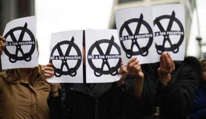 Protestas durante la huelga de jueces y fiscales del 20 de febrero de 2013.