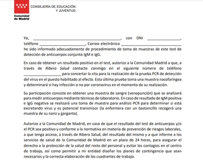 Consentimiento que deben firmar los docentes, en los que autorizan a Ribera Salud.