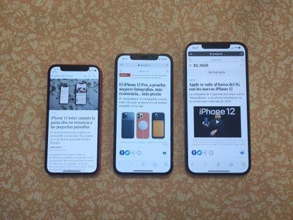 El iPhone 12 Pro Max (a la derecha), junto al iPhone 12 Pro y al iPhone 12 Mini.