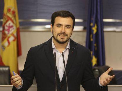 Alberto Garzón, en el Congreso de los Diputados, el pasado febrero.