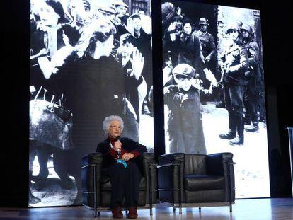 Liliana Segre, el pasado día 15, durante un acto en la Universidad Bocconi de Milán.