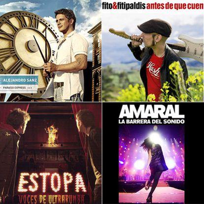Portada de los discos de Alejandro Sanz <i>(Paraíso express), </i>Fito & Fitipaldis <i>(Antes de que cuente diez), </i>Estopa <i>(Voces de ultratumba) </i>y Amaral <i>(La barrera del sonido).</i>
