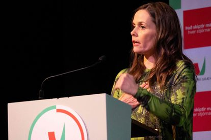 Catherine Jacobsdottir, durante un mitin el 25 de septiembre.