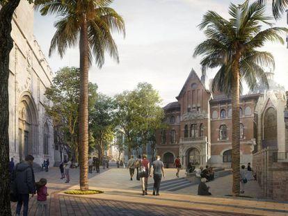 Una simulación del proyecto de peatonalización de la plaza del Mercado de Valencia, con la Lonja a la izquierda.