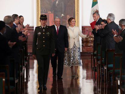 Andrés Manuel López Obrador, durante la presentación de su tercer informe presidencial, en Palacio Nacional.