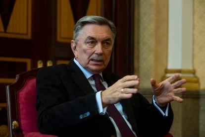 Yuri Korchagin, embajador de Rusia en España, durante la entrevista.