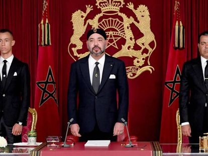 El rey de Marruecos, Mohamed VI, en un discurso el 29 de julio de 2018.