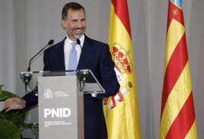 El Príncipe Felipe durante su intervención en la entrega de los Premios Nacionales de Innovación y de Diseño.