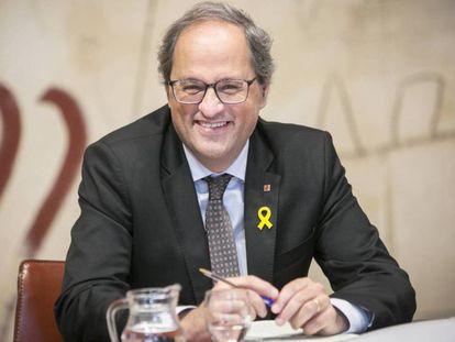 El presidente de la Generalitat Quim Torra, este martes. En vídeo, declaraciones de Elsa Artadi, portavoz del Govern.