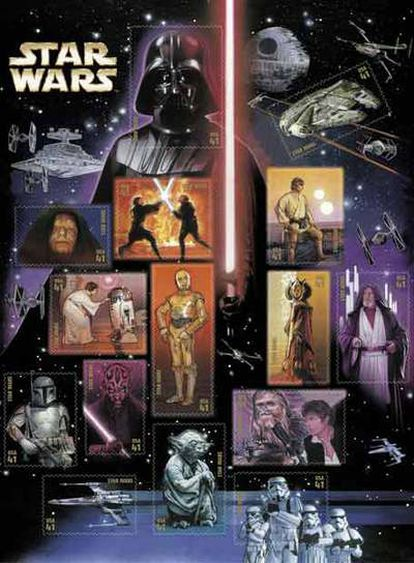 Un poster donde se muestran la serie de sellos que lanzará el Servicio Postal de Estados Unidos conmemorando las películas de 'Star Wars'.