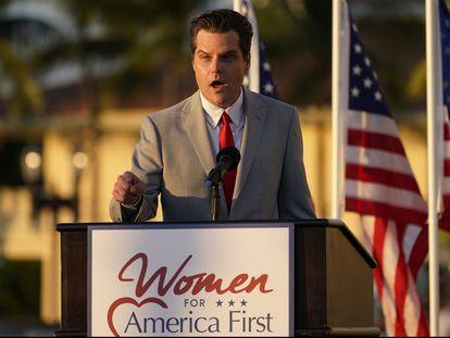 El congresista republicano por Florida Matt Gaetz, en un evento el viernes de Women for American First en Doral, Florida.