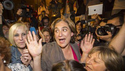 La alcaldesa de Barcelona, Ada Colau, en la noche electoral.