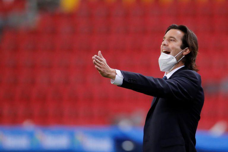 Santiago Solari, entrenador del América, durante el partido contra el Atlas.