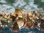 Representación de la Armada Invencible atribuida al pintor inglés Nicholas Hilliard.