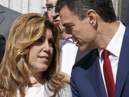 Díaz y Pedro Sánchez, durante la presentación de la propuesta de reforma constitucional el pasado día 28.