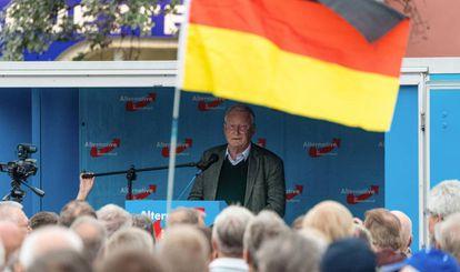 Alexander Gauland, copresidente de AfD, en un acto de campaña en Bautzen (Sajonia).