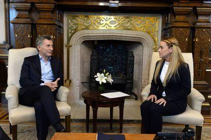 Mauricio Macri reunido con Lilian Tintori en Buenos Aires.