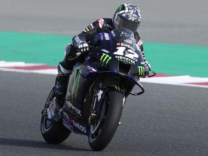 El piloto español Maverick Viñales, hoy 3 de abril en el circuito de Losail, en Doha.