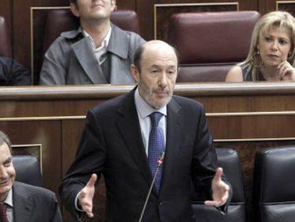 Rubalcaba, durante una de sus intervenciones en la sesión de control