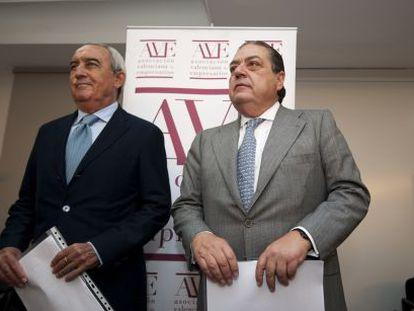Federico Félix y Vicente Boluda, en la sede de la Asociación Valenciana de Empresarios.